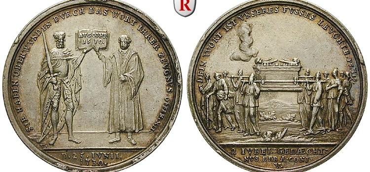 アウグスブルク信仰告白の起草200周年記念の銀メダル